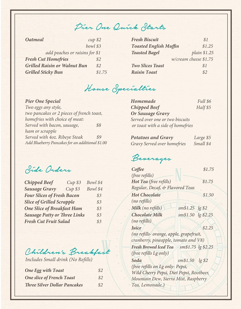 Pier 1 Breakfast Menu